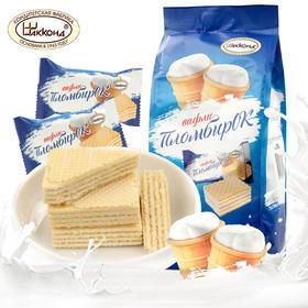 【半岛商城】俄罗斯进口阿孔特小农庄冰淇淋威化夹心饼干500g网红零食小吃奶油华夫