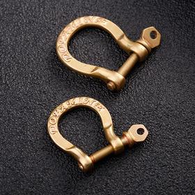 黄铜马蹄形卸扣※钥匙扣 925纯银狮子头铃铛 吊友车钥匙必备
