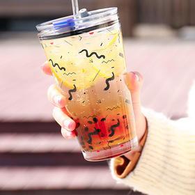 【清凉暑价】网红INS风玻璃吸管杯女可爱带刻度果汁牛奶杯儿童喝奶杯子家用办公室