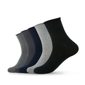 松口中筒薄棉袜加大码 吸汗透气纯色中筒袜四季棉袜(5双)