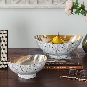 奇居良品 DF印度进口家居饰品摆设 低碳钢手工装饰果盘水果碗