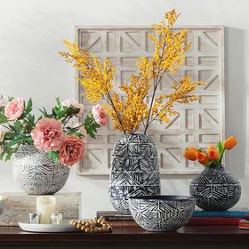 奇居良品 DF印度进口家居饰品插花摆设 低碳钢手工装饰花瓶果碗托盘摆件