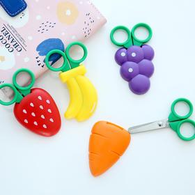 FaSoLa 剪刀 儿童圆头带保护盖卡通可爱学生幼儿园剪纸手工剪