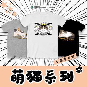 包邮-萌猫系列 夏春季宽松印花圆领t恤男女通款