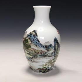 洋彩山水人物观音瓶