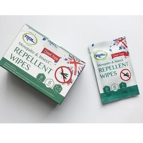 【部队专用】英国RBL驱蚊驱昆虫湿巾不含酒精避蚊胺无刺激小孩孕妇可用8片/盒