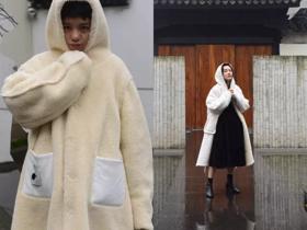 小熊羊羔仔羊羔毛面双面穿软绵绵戴帽大衣