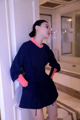 甜美太空宫廷收腰棒球运动风连衣裙小礼服