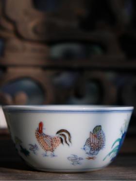 怀景堂 纯手工明成化斗彩鸡缸杯