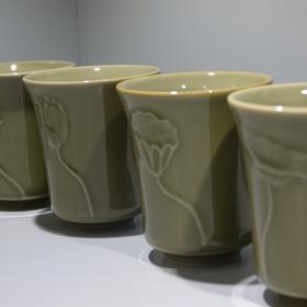 荷韵禅意杯 创意越窑青瓷茶杯