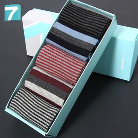 七色纺-男士袜子5双装纯棉中筒袜透气gh