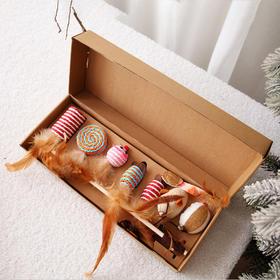 喜归|逗猫玩具球猫咪球型转盘1个 套装组合七件套铃铛羽毛木杆逗猫棒1套 primo 高汤低脂猫罐头 混合口味 6罐