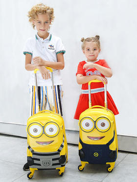 小黄人拉杆箱儿童3D拉杆包旅行箱18寸卡通万向轮男女童宝宝行李箱