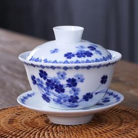 青花瓷盖碗茶杯 大号白瓷功夫盖碗 陶瓷三才碗茶碗泡茶杯