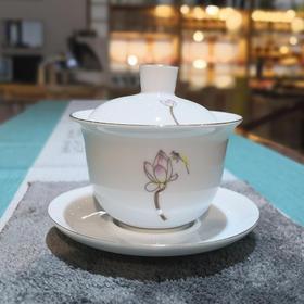 盖碗大号白瓷三才碗荷花茶器茶具功夫茶具泡茶杯泡茶碗