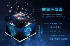 【七夕订制】浪漫星空许愿盒(套餐内含:蛋糕、玫瑰礼盒、告白卡片)