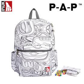 【馨竹】inuk创意图腾涂鸦背包套装(附赠笔袋+防水笔)中小学生男女背包