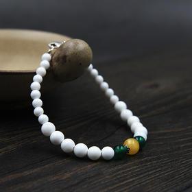【七夕】砗磲圆珠 搭配蜜蜡、绿玛瑙手串