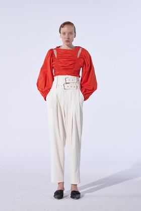 MAYALI 19AW 白色双腰头九分西裤
