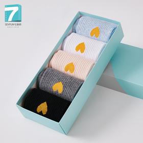 七色纺-5双装女士袜子素色纯棉可爱提花时尚gh