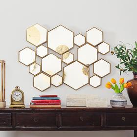 奇居良品 家居客厅卫浴壁饰 瑞新金属框装饰镜子壁挂