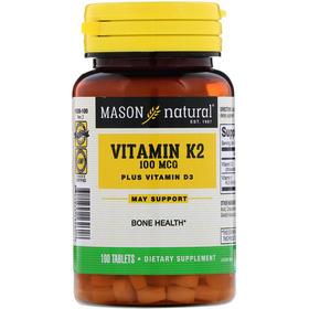 Mason Natural 维生素K2加维生素D3,100微克,100片片剂