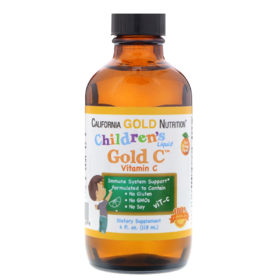 California Gold Nutrition 儿童液体黄金维生素C,USP级,天然橙子味,4液盎司(118毫升)