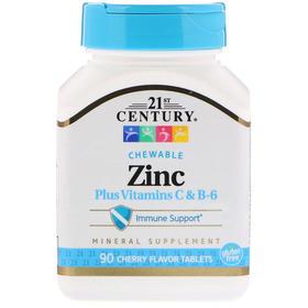 21st Century  锌加维生素C和B-6,樱桃味,90片咀嚼片-6
