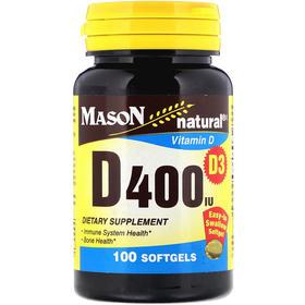 36 Mason Natural, 维生素D3,400IU,100粒软胶囊