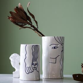 北欧创意ins风陶瓷人脸台面花瓶摆件客厅餐桌干花仿真插花装饰品