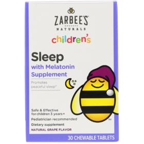 Zarbee's Children's,儿童睡眠补充剂,天然葡萄味,30 片咀嚼片