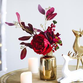 米子家居 北欧创意牡丹仿真花客厅卧室餐厅假花摆设简约花束装饰