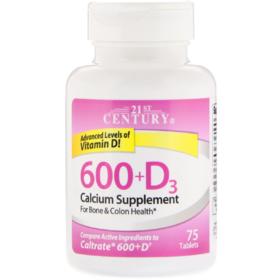 21st Century, 600+D3, Calcium Supplement, 75 片