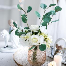 米子家居 北欧创意仿真玫瑰花摆件客厅餐桌卧室装饰品插花花艺品