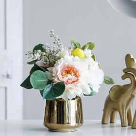 米子家居 北欧简约牡丹花仿真花假花花艺餐厅客厅卧室花艺品摆件