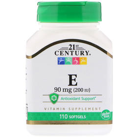 38 21st Century, E, 90 毫克 (200 IU), 110粒胶囊