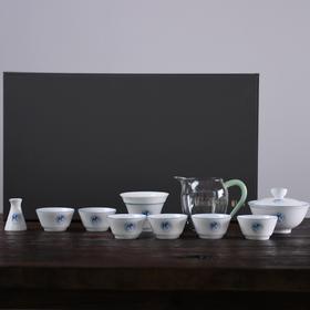 白瓷功夫茶具套装小套家用 景德镇手绘陶瓷茶杯盖碗套装家用简约