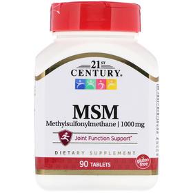 21st Century MSM(二甲基砜)最大强度,1000 毫克,90 片