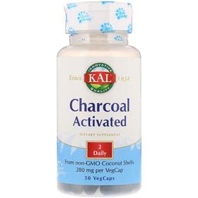KAL 活性炭,280 毫克,50 粒素食胶囊
