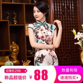 TZF344高端专柜品牌双色盘口旗袍TZF