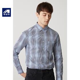 墨麦客男装秋季新款纯棉格子衬衫男士休闲尖领衬衣宽松上衣男潮流