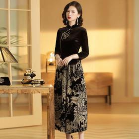 立领刺绣七分袖唐装上衣+印花阔腿裤两件套AYK-QF190710