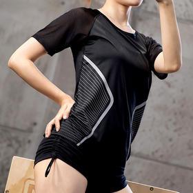 女款跑步短袖 - 个性时髦印花,清爽透气网眼