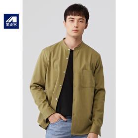 墨麦客男装2019秋季新款纯棉宽松纯色长袖立领衬衫简约5469