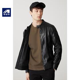 墨麦客男装2019秋季新款PU皮修身纯色长袖立领夹克外套百搭8188