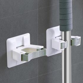 H&3 5个装浴室卫生间免打孔无痕强力拖把夹墙壁拖把挂钩粘钩