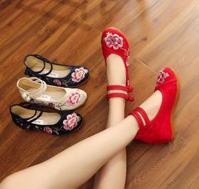 【清仓特价 不退不换】TML6003A-18新款中国民族风提花棉搭扣内增高女鞋TZF