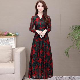 QYM-KED-93023新款优雅气质印花显瘦连衣裙TZF