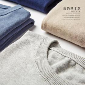 【秋季流行 好看易搭配】男款 纯色圆领长袖薄款针织衫 男款针织衫 100%精梳棉
