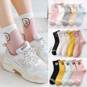 【5双】袜子女韩版中筒袜夏薄短袜船袜长筒袜子秋冬原宿风可爱